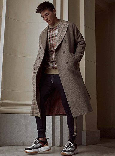 Elisa Uomo mixed-check long overcoat