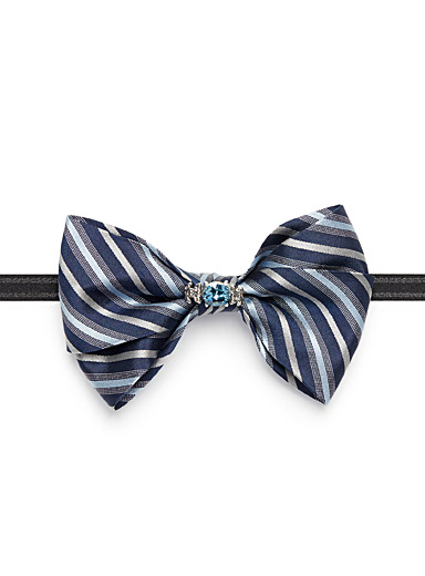 Two-tone crystal bow tie