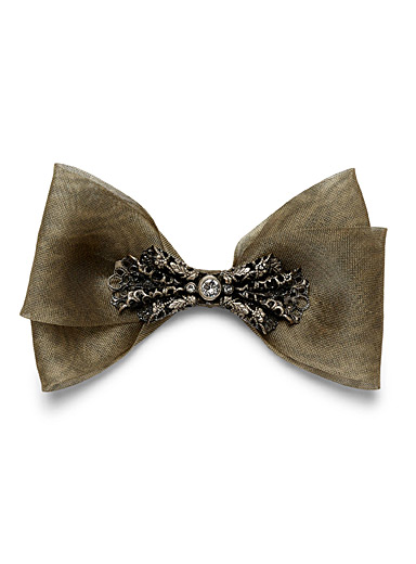Jewel lace on tulle bow tie