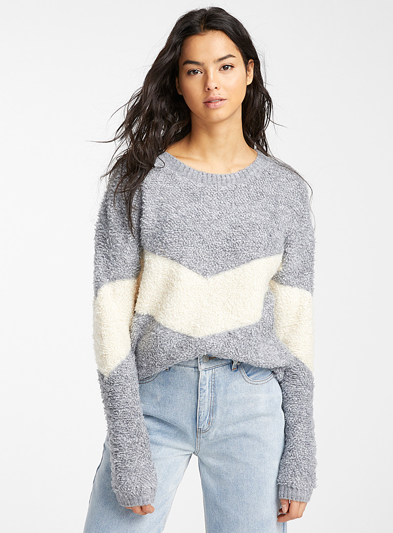 Le pull sherpa bicolore - Pulls - Gris