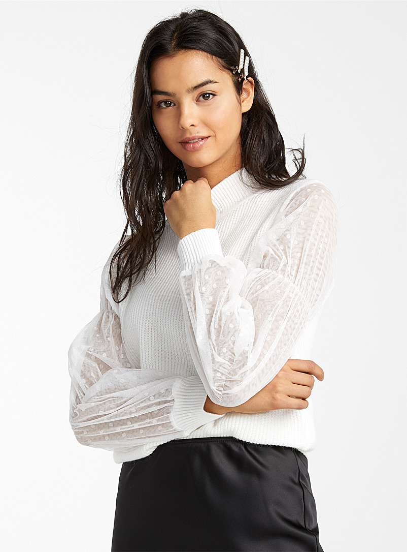 dotted-mesh-sleeve-mock-neck