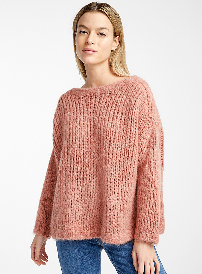 Loose chunky knit sweater - Sweaters - Light Red