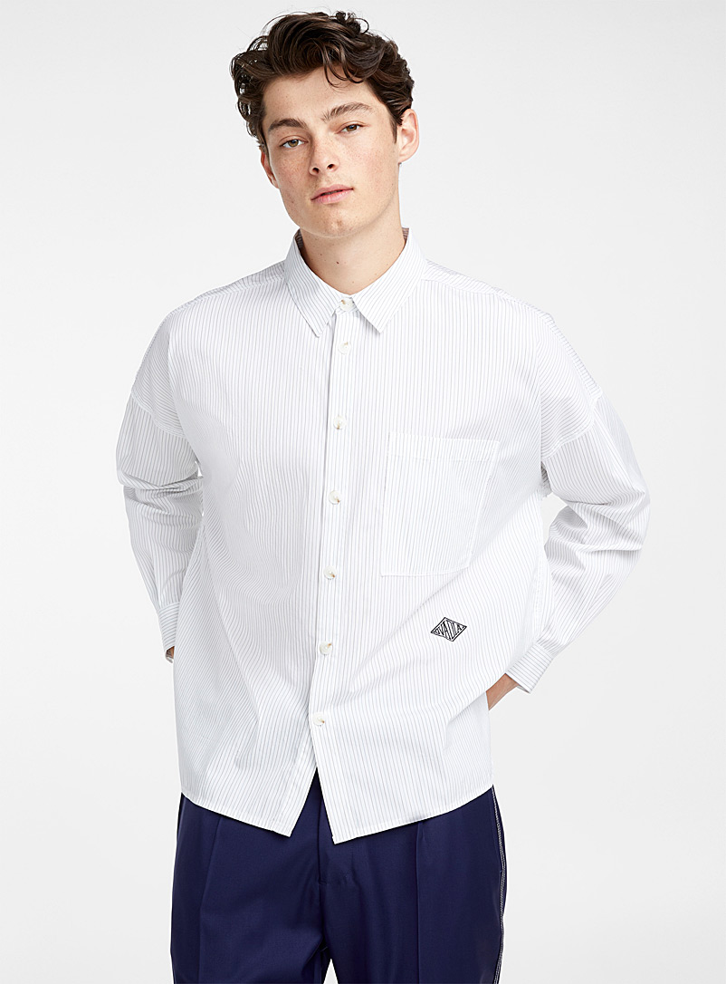 80's fine stripe Shirt - Ovadia & Sons - Patterned White