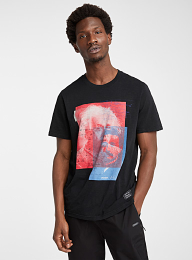 Ovadia Black Graphic Einstein T-shirt for men