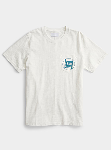 Ovadia White Logo chest pocket T-shirt for men
