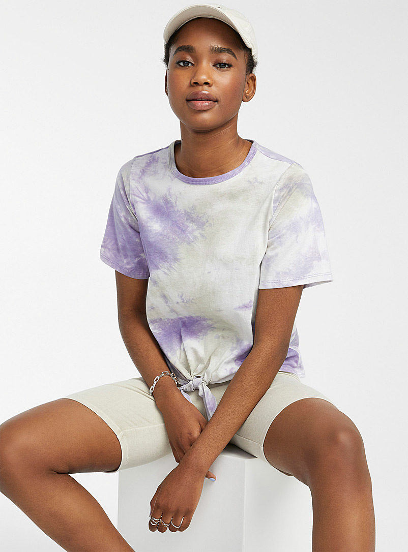 Twik Lilacs Tie-dye knotted cropped tee for women