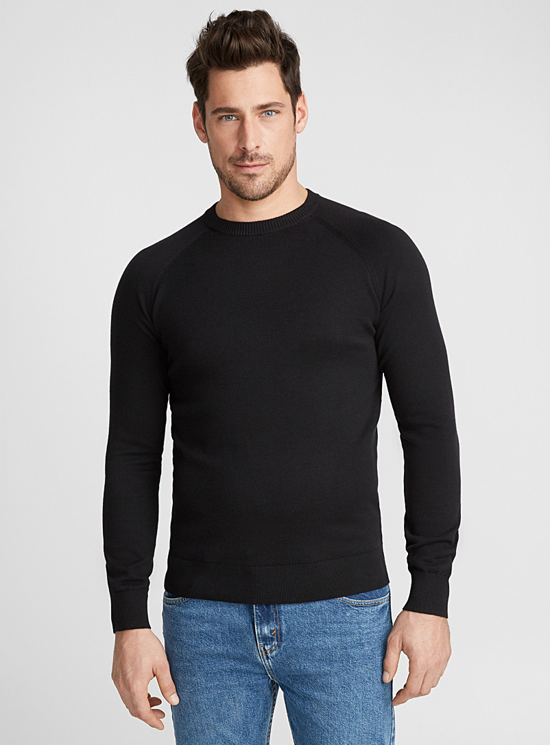 Basic crew-neck sweater - Cotton - Black