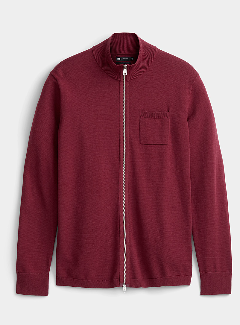 Le 31 Ruby Red Minimalist knit cardigan for men