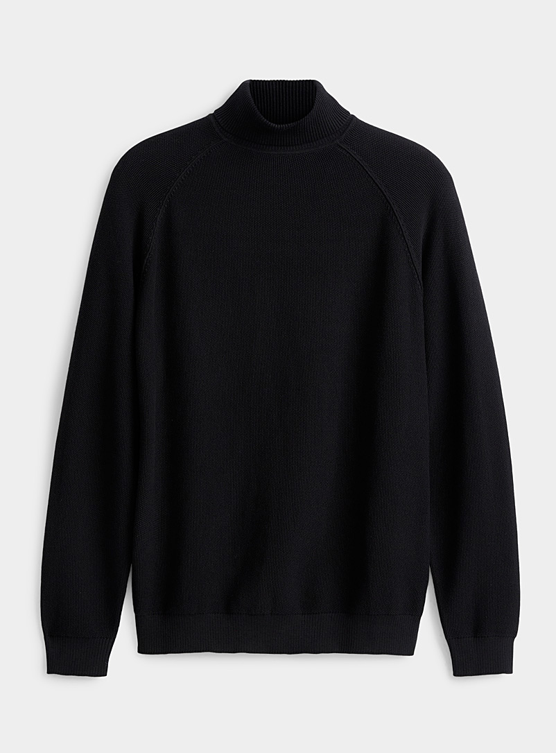 Piqué knit turtleneck