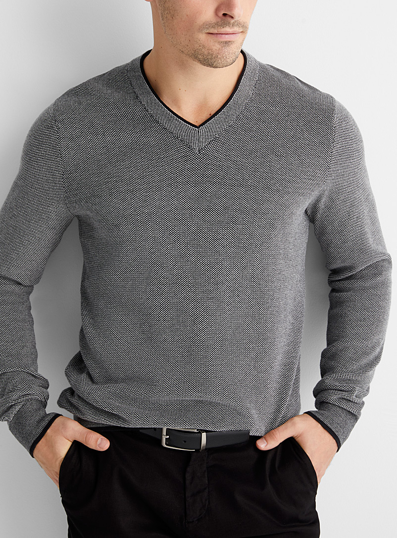 Two-tone piqué sweater