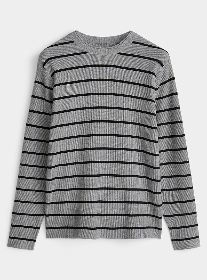 Le 31 Silver Striped organic cotton knit sweater for men