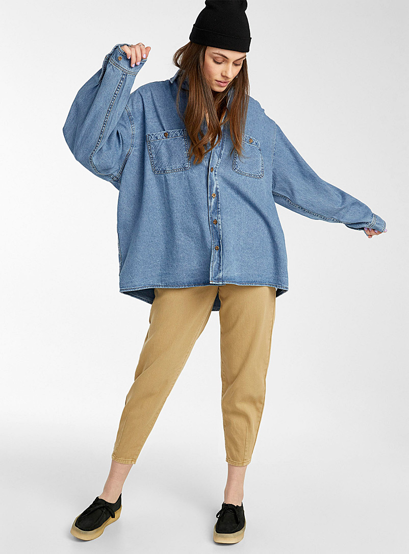 Twik Slate Blue Classic loose blue denim shirt for women