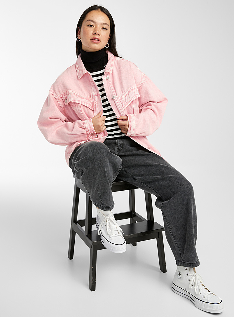 Twik Pink Faded pink jean jacket for women