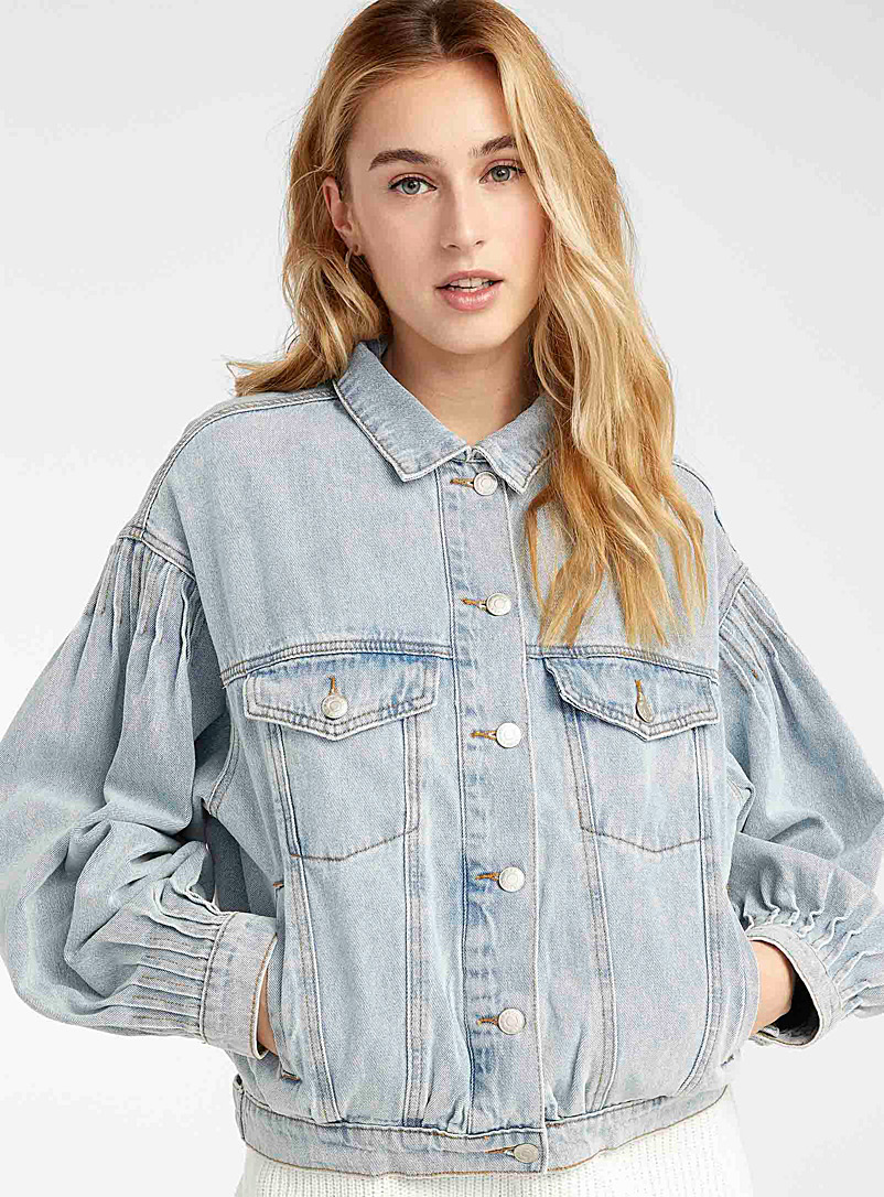 Twik Baby Blue Faded-blue bubble jean jacket for women