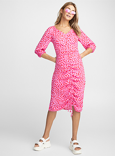 Pink leopard gathered dress
