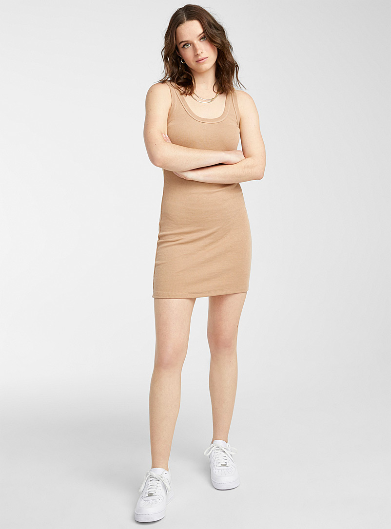 Twik Cream Beige Ribbed jersey fitted dress for women