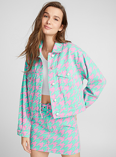 Fluorescent houndstooth jean jacket