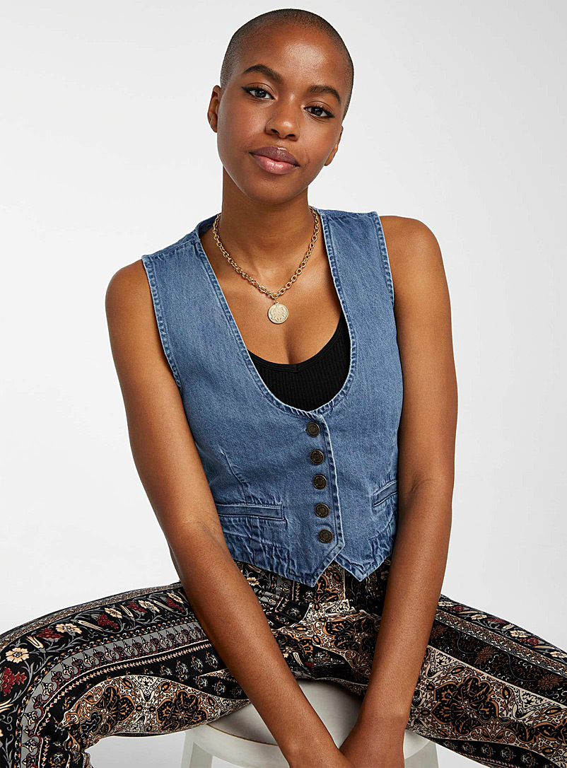 Twik Sapphire Blue Medium blue denim jacket for women