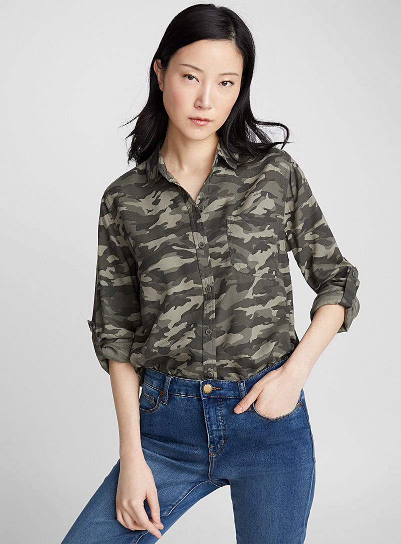Fluid camouflage shirt - Shirts - Patterned Green