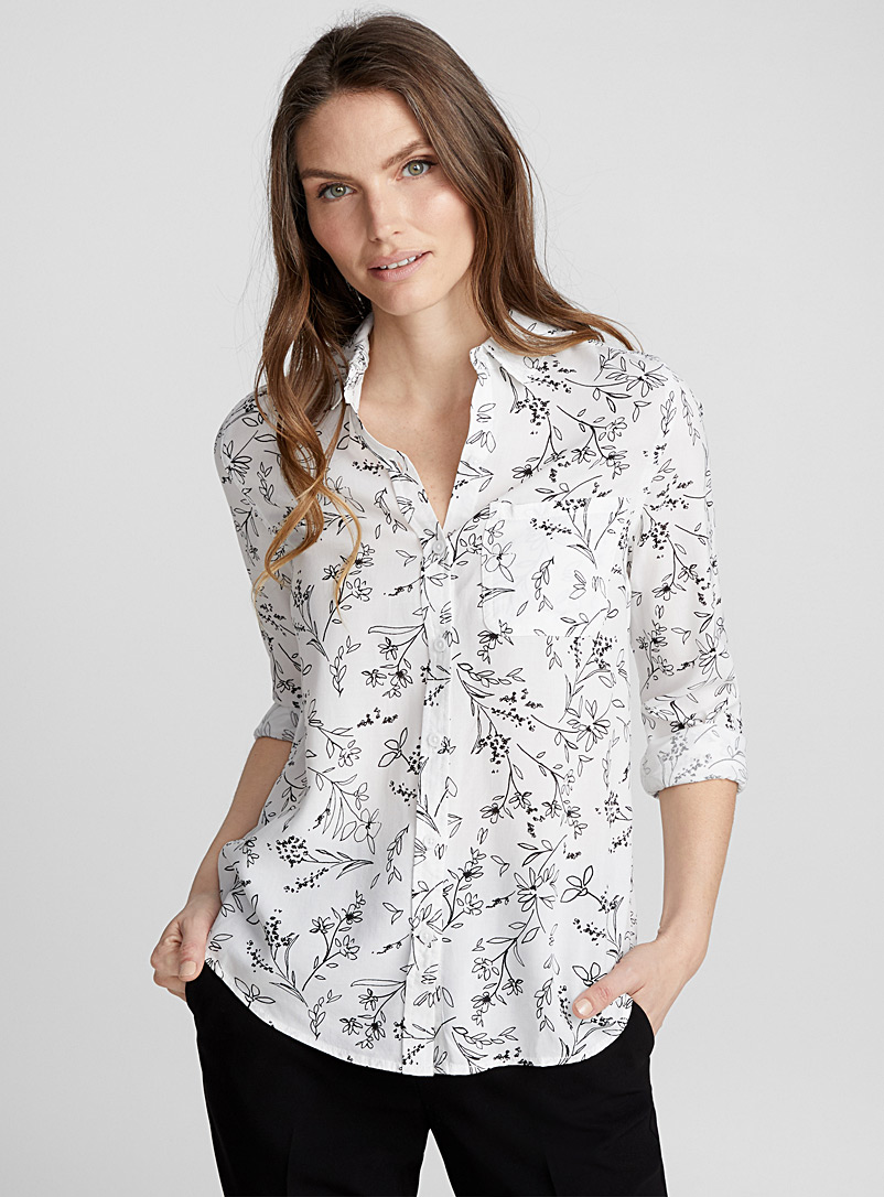 Small pattern fluid shirt - Shirts - Black and White