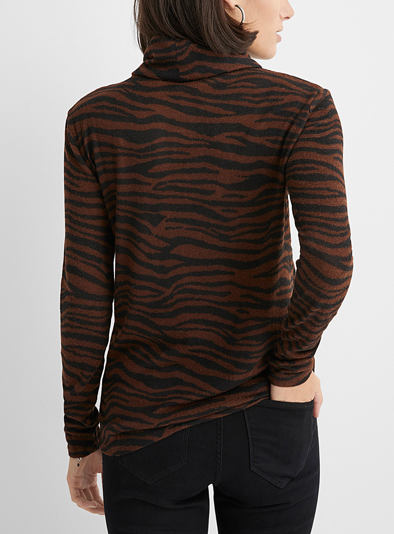 Contemporaine Grey Soft animal print turtleneck for women