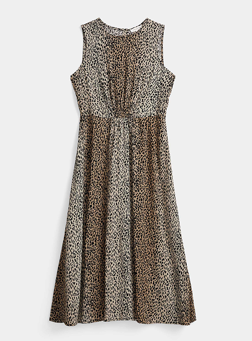 Contemporaine Patterned Brown Flowy leopard midi dress for women