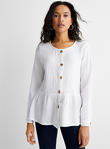 Pleated peplum shirt