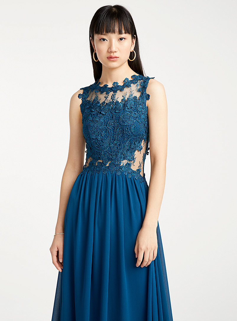 Precious stone lace dress - Fit & Flare - Teal