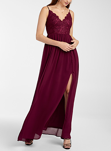 Twik Ruby Red Floral lace maxi dress for women