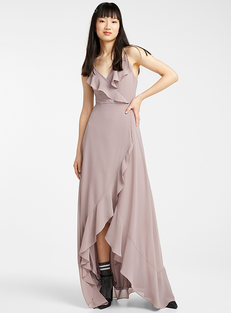 Twik Sand Crossover ruffle maxi dress for women