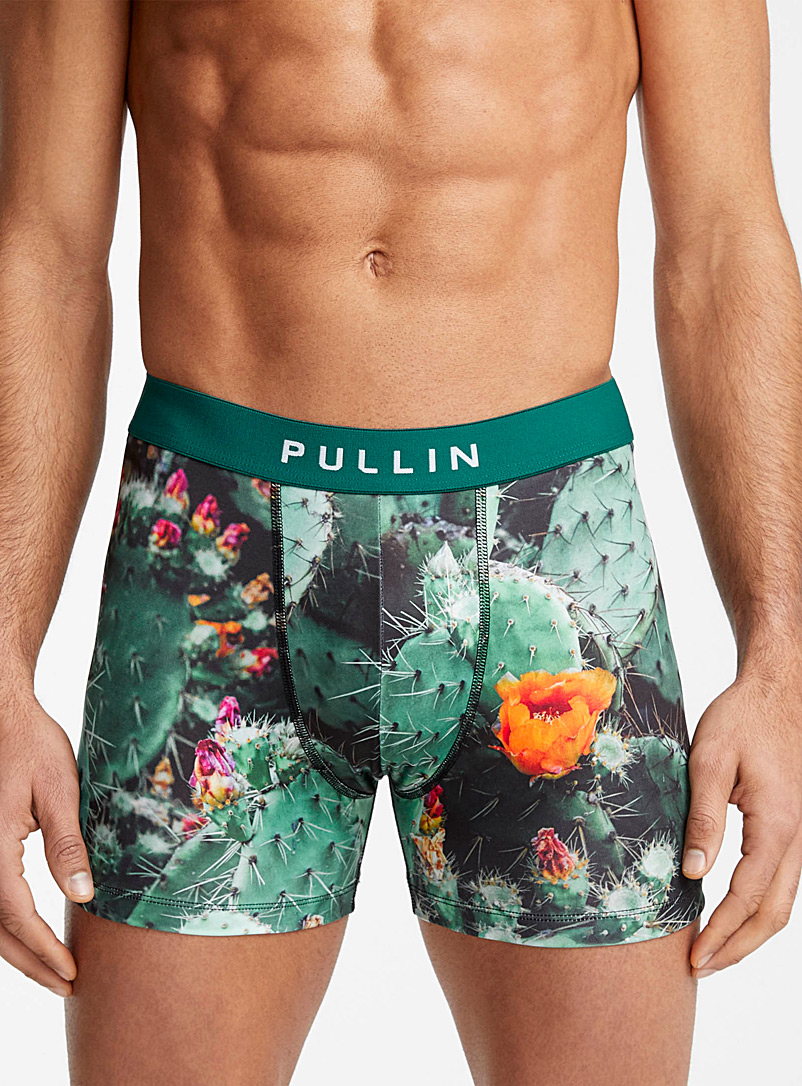 Pull-In Patterned Green Cactus hedge trunk for men