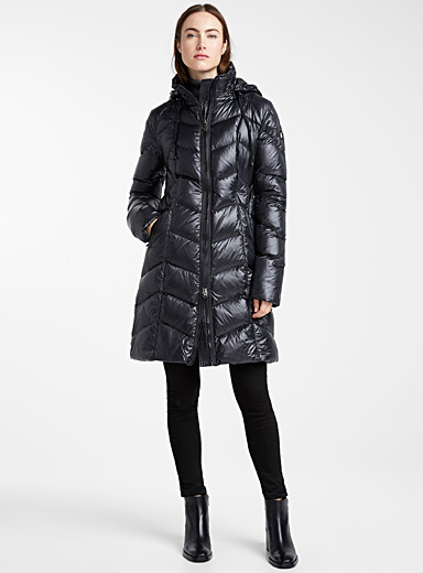 Raven chevron-quilted puffer jacket