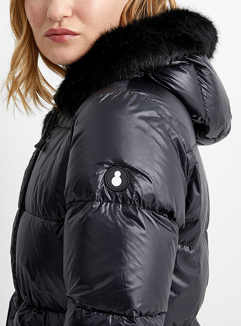 Sharpen fur-accent puffer jacket - Snowman - Black