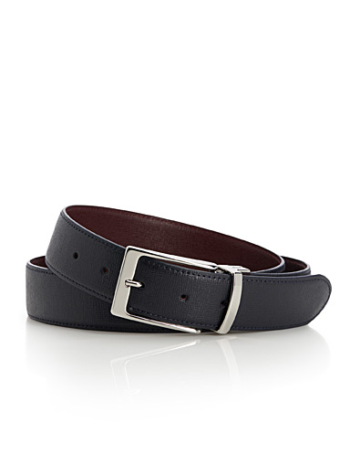Reversible navy and burgundy belt