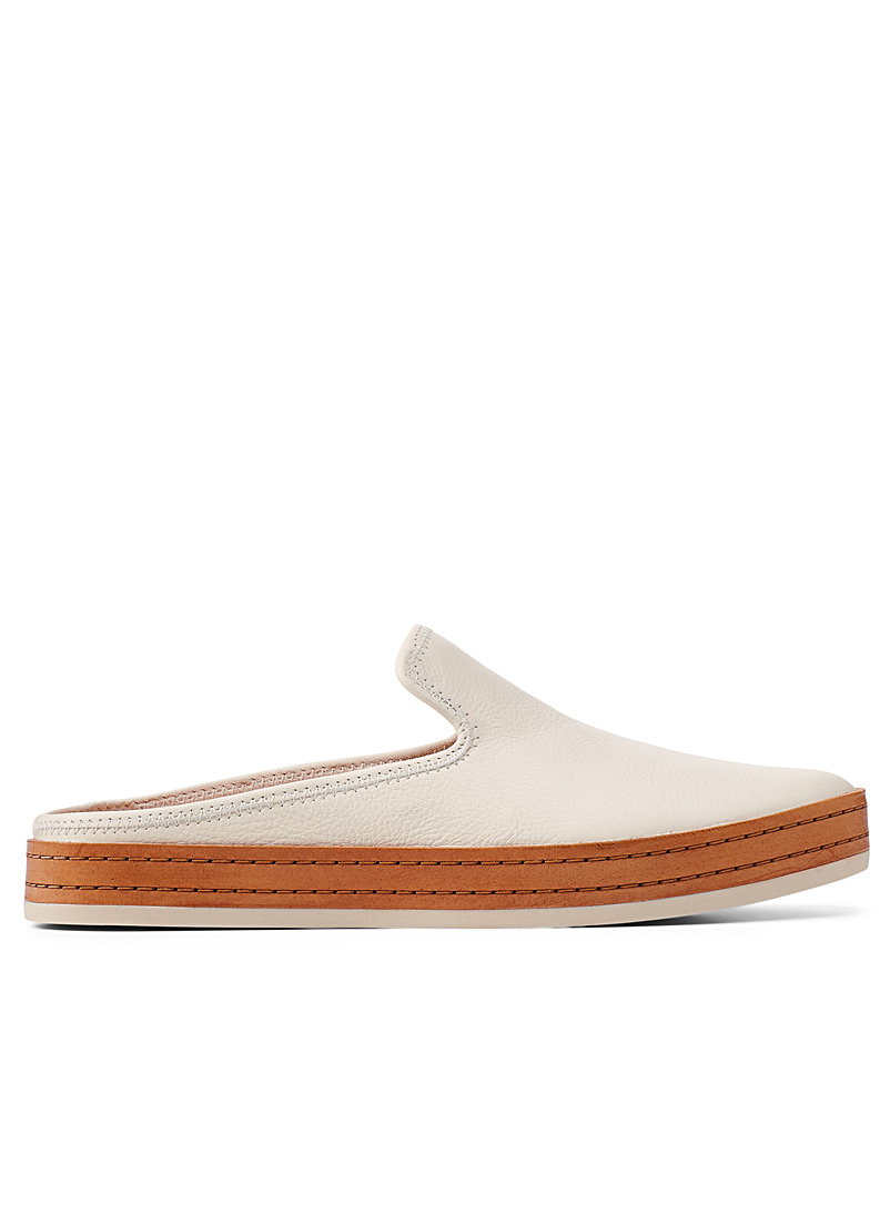Vince White Canella leather sneaker mules for women