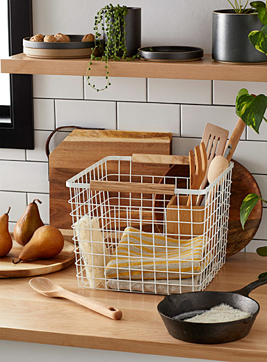 Wood accent cube basket