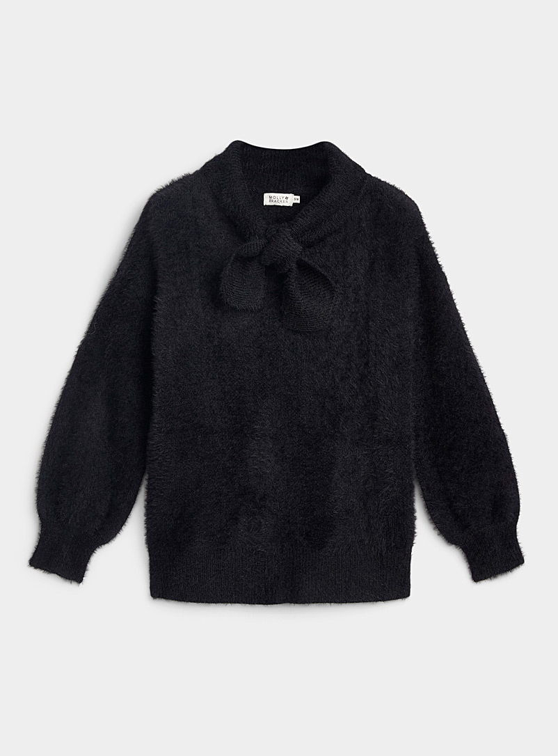 Twik Black Fuzzy knit tie-collar sweater for women