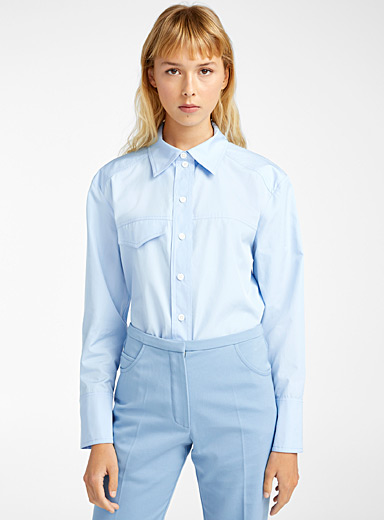 Courrèges Baby Blue Light blue blouse for women