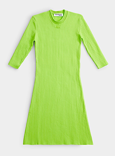Courrèges Green Ribbed knit lime dress for women
