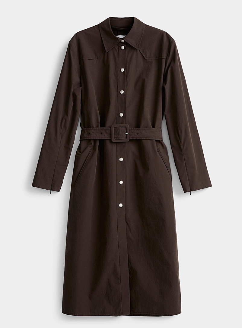 Courrèges Dark Brown Mocha cotton trench for women