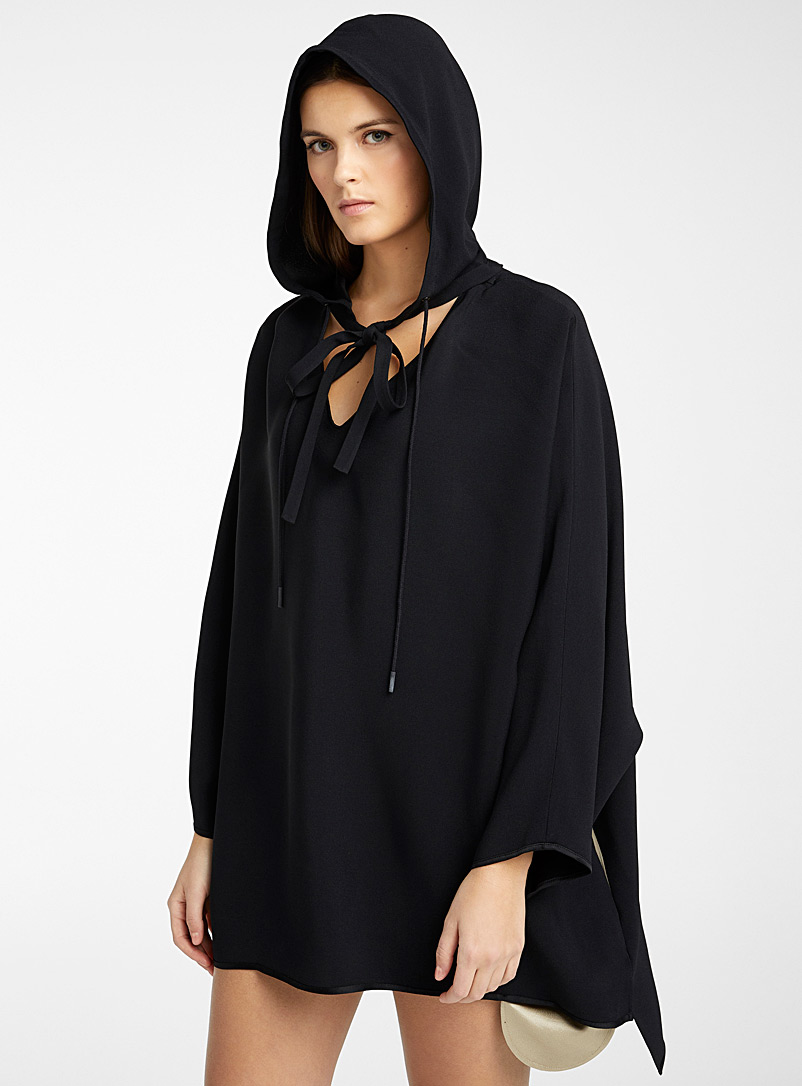 Courrèges Black Batwing-sleeve two-tone top for women