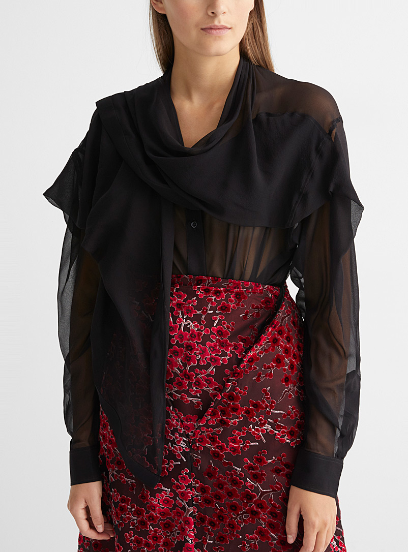 Scarf-neck silk blouse