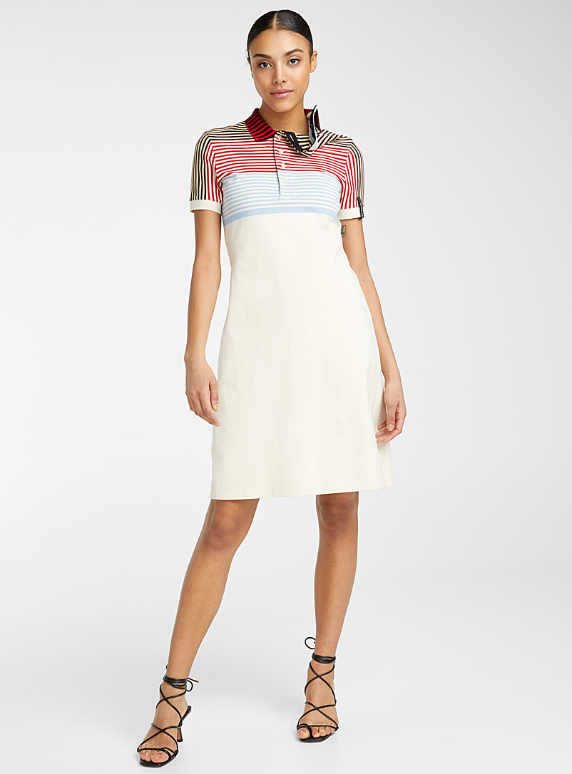 Asymmetric-collar polo dress