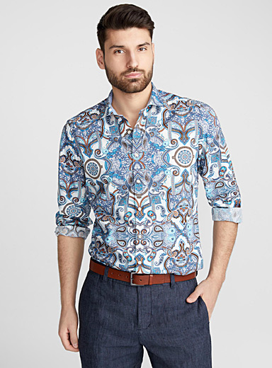 Indigo paisley shirt <br>Semi-tailored fit <br>