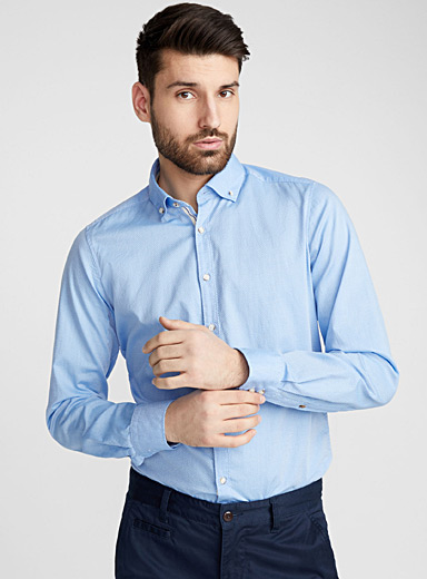 Piqué jacquard shirt <br>Semi-tailored fit