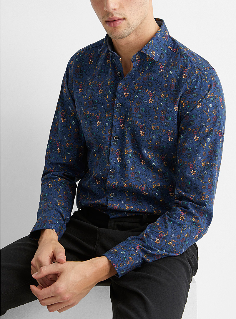 Olymp Marine Blue Fall floral shirt  Modern fit for men