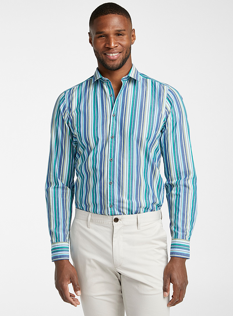 Olymp Green Vertical stripe chambray shirt  Modern fit for men