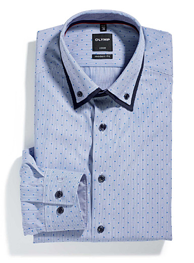Stripes on dots double-collar shirt <br>Semi-tailored fit