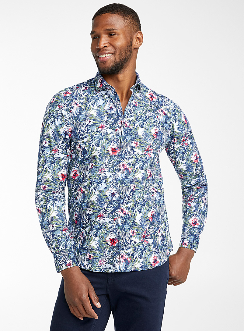 Olymp Marine Blue Floral jungle shirt  Modern fit for men