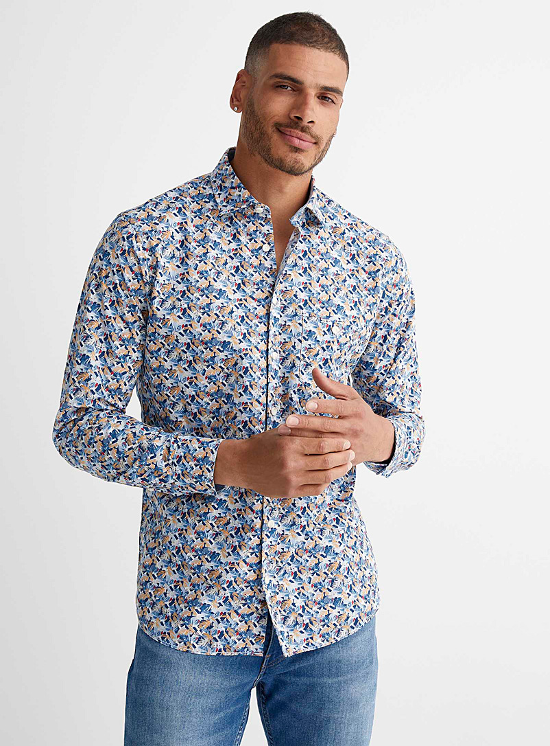 Olymp White Geo foliage shirt Modern fit for men